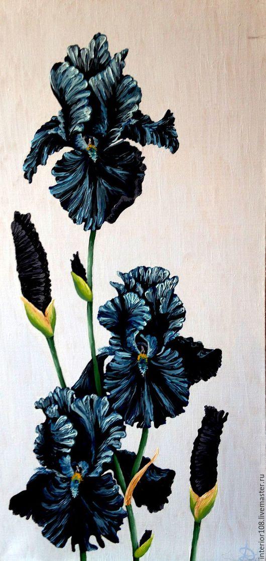 """Картины цветов ручной работы. Ярмарка Мастеров - ручная работа. Купить Картина маслом ручной работы : """" Чёрные бархатные ирисы"""". 30 х 60 см.. Handmade."""