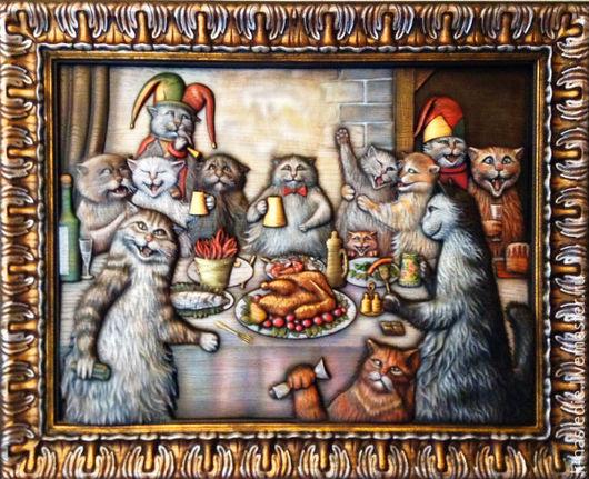 Животные ручной работы. Ярмарка Мастеров - ручная работа. Купить Картина Кошачий пир (панно из дерева, кошки, роспись красками). Handmade.