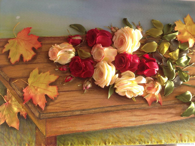 """Авторская картина """"Осенние розы"""". Вышивка лентами. Акрил, Картины, Волоколамск,  Фото №1"""
