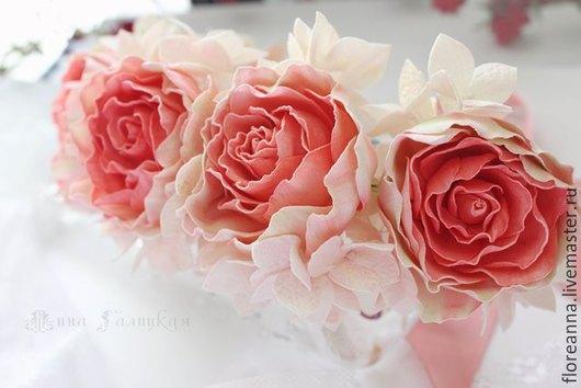 Диадемы, обручи ручной работы. Ярмарка Мастеров - ручная работа. Купить Веночек из роз и гортензии. Handmade. Розовый, обруч для волос