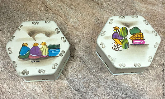 Шкатулки ручной работы. Ярмарка Мастеров - ручная работа. Купить Кожаные коробочки шестиугольные с этническими рисунками. Handmade. Бежевый, коробочка