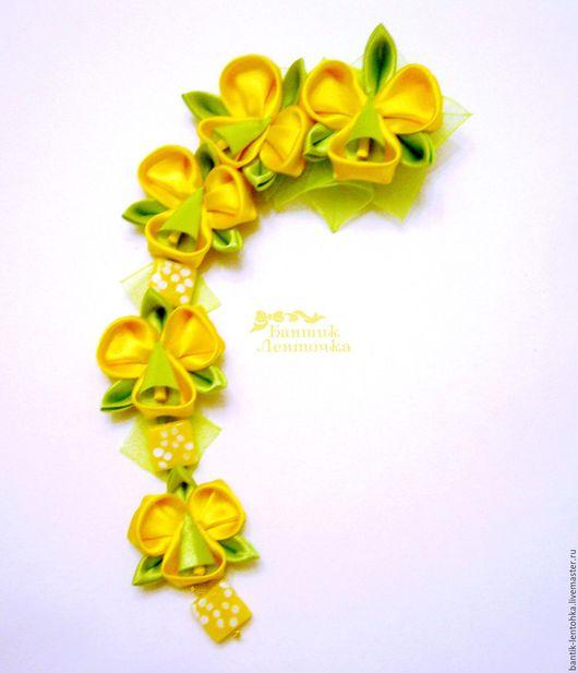 """Заколки ручной работы. Ярмарка Мастеров - ручная работа. Купить Заколка-зажим канзаши-шидаре """"Орхидеи"""". Handmade. Желтый"""