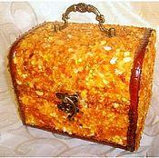 Для дома и интерьера handmade. Livemaster - original item Jewelry box amber box stone box,wood box with baltic amber jewelry gif. Handmade.