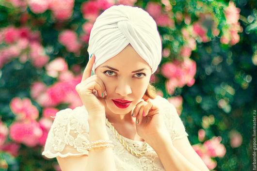"""Шляпы ручной работы. Ярмарка Мастеров - ручная работа. Купить Шапка-Чалма летняя из вискозы """"Аура"""". Handmade. Белый"""