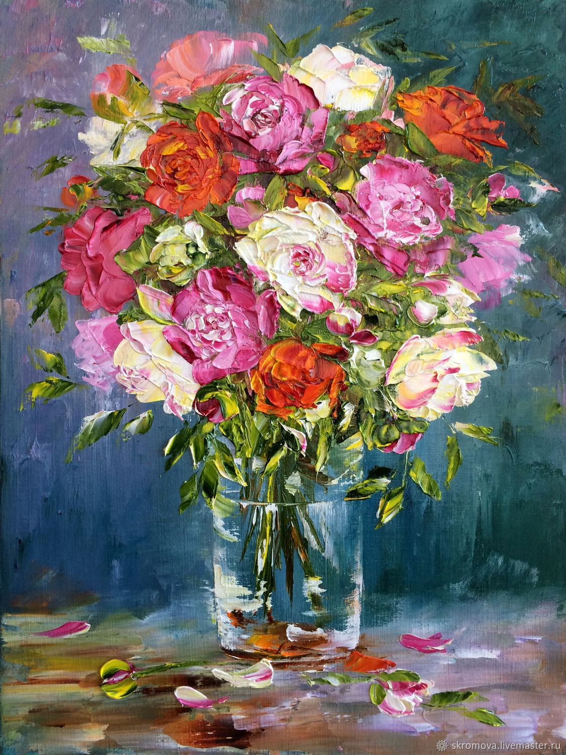 Oil painting of Roses in a transparent vase, Pictures, Moscow,  Фото №1