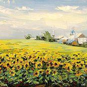 Картины и панно handmade. Livemaster - original item Oil painting, palette knife Sunflower field. Handmade.