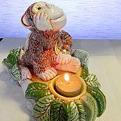 Подарки к праздникам handmade. Livemaster - original item Ceramic candle holder Monkey. Handmade.