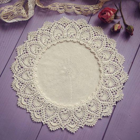 Текстиль, ковры ручной работы. Ярмарка Мастеров - ручная работа. Купить Салфетка крючком молочного цвета. Handmade. Салфетка