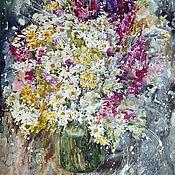 Картины и панно handmade. Livemaster - original item Watercolor painting with flowers Wild flowers. Handmade.