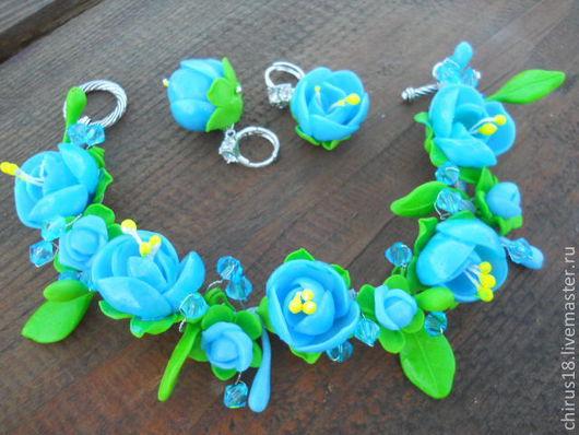 Комплекты украшений ручной работы. Ярмарка Мастеров - ручная работа. Купить Жасмин в голубом. Handmade. Голубой цвет, роза, желтый