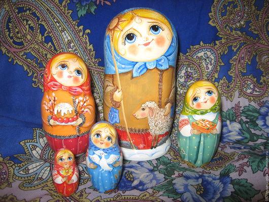 """Матрешки ручной работы. Ярмарка Мастеров - ручная работа. Купить матрешка деревянная """"Подарок крестнице"""". Handmade. Разноцветный, православный подарок"""