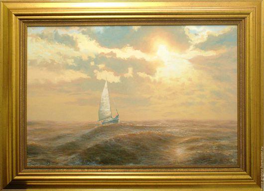 Пейзаж ручной работы. Ярмарка Мастеров - ручная работа. Купить На морской просторе-1.картина маслом на холсте.морской пейзаж.классика. Handmade.