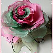 Фен-шуй и эзотерика ручной работы. Ярмарка Мастеров - ручная работа брошь роза розово-мятная, из ткани. Handmade.
