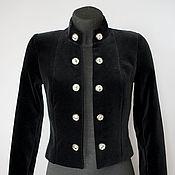 Одежда ручной работы. Ярмарка Мастеров - ручная работа Жакет бархатный черный  на шелковой подкладке. Handmade.