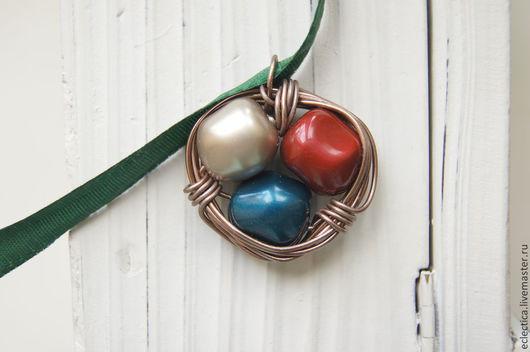 Кулоны, подвески ручной работы. Ярмарка Мастеров - ручная работа. Купить Кулон из японских бусин-камней. Handmade. Кулон