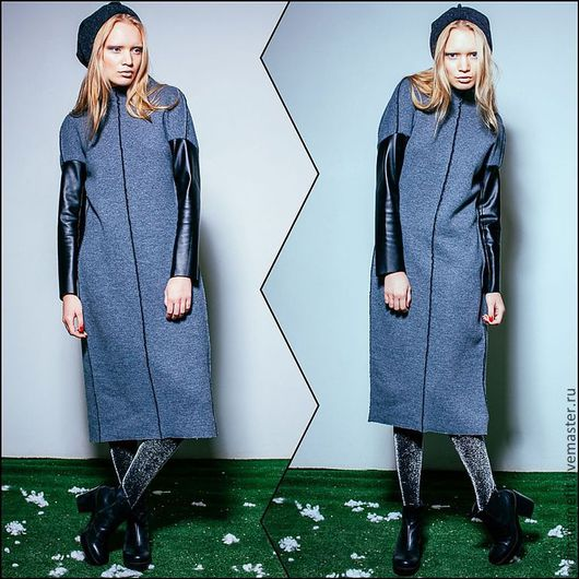 Платье выполнено из двухстороннего материала. Верхний( серый) слой- шерсть-100%,  внутренний( черный) хлопок -100% Рукава - искусственная  кожа высшего качества