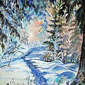 """Картины и панно ручной работы. Ярмарка Мастеров - ручная работа """"Зимний лес"""" масло,холст. Handmade."""