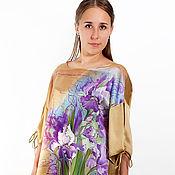 Одежда handmade. Livemaster - original item Copy of Satin hand painted tunic with irises. Handmade.