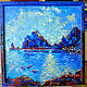 """Пейзаж ручной работы. Ярмарка Мастеров - ручная работа. Купить """"Ночь перед Возвращением""""- картина маслом море. Handmade. Синий"""