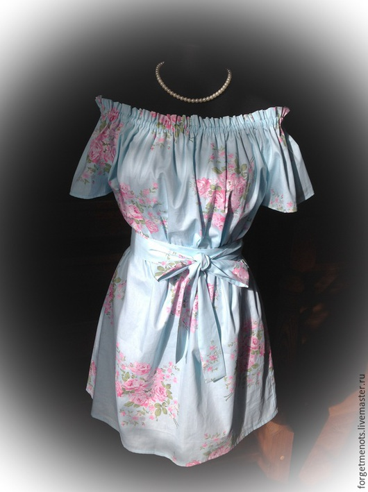 """Платья ручной работы. Ярмарка Мастеров - ручная работа. Купить Платье из хлопка """"Голубая мечта"""". Handmade. Голубой, хлопок с розами"""