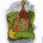 """Картины и панно ручной работы. Ярмарка Мастеров - ручная работа панно """"Осенний пейзаж с часовней"""". Handmade."""