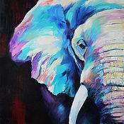 Картины и панно handmade. Livemaster - original item Oil painting with elephant