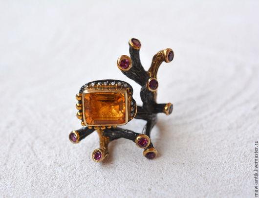 Кольца ручной работы. Ярмарка Мастеров - ручная работа. Купить кольцо серебряное с цитрином и рубинами от Gurol. Handmade. Комбинированный