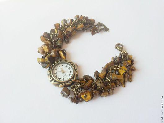 """Часы ручной работы. Ярмарка Мастеров - ручная работа. Купить Часы-браслет """"Тигровый глаз"""". Handmade. Коричневый"""