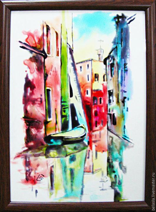 Город ручной работы. Ярмарка Мастеров - ручная работа. Купить Улочки Венеции, витражная роспись по стеклу. Handmade. Венеция, зеленый