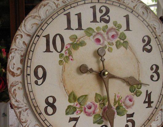 Часы для дома ручной работы. Ярмарка Мастеров - ручная работа. Купить Часы настенные Шебби(Роспись ). Handmade. Часы