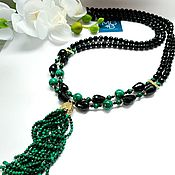 Украшения handmade. Livemaster - original item Sautoire made of malachite and black agate. Handmade.