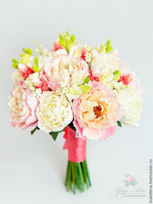 Цветы ручной работы. Ярмарка Мастеров - ручная работа. Купить Букет невесты из полимерной глины в коралловых тонах. Handmade.