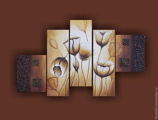 """Картины цветов ручной работы. Ярмарка Мастеров - ручная работа. Купить """"Белые тюльпаны"""" объемная фреска. Handmade. Терра"""