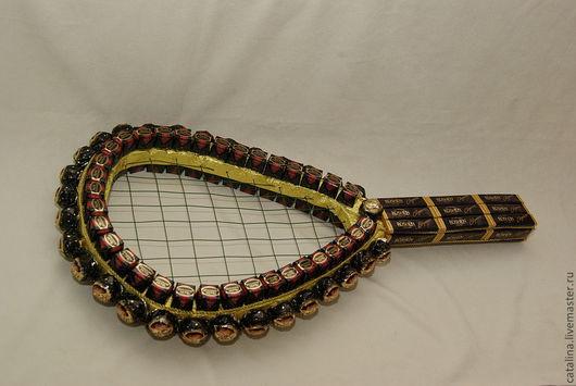 Персональные подарки ручной работы. Ярмарка Мастеров - ручная работа. Купить Теннисная ракетка. Handmade. Черный, подарок из конфет