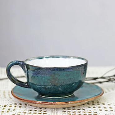 Посуда ручной работы. Ярмарка Мастеров - ручная работа Чашка керамическая Темно-бирюзовый. Handmade.