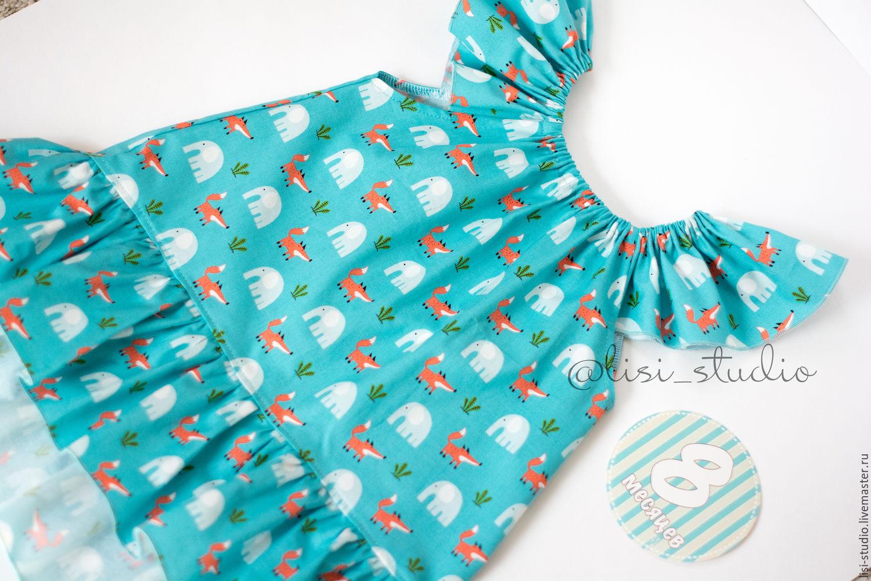 Летнее бирюзовое платье с лисами и слониками – купить в интернет ... 606ccd39315