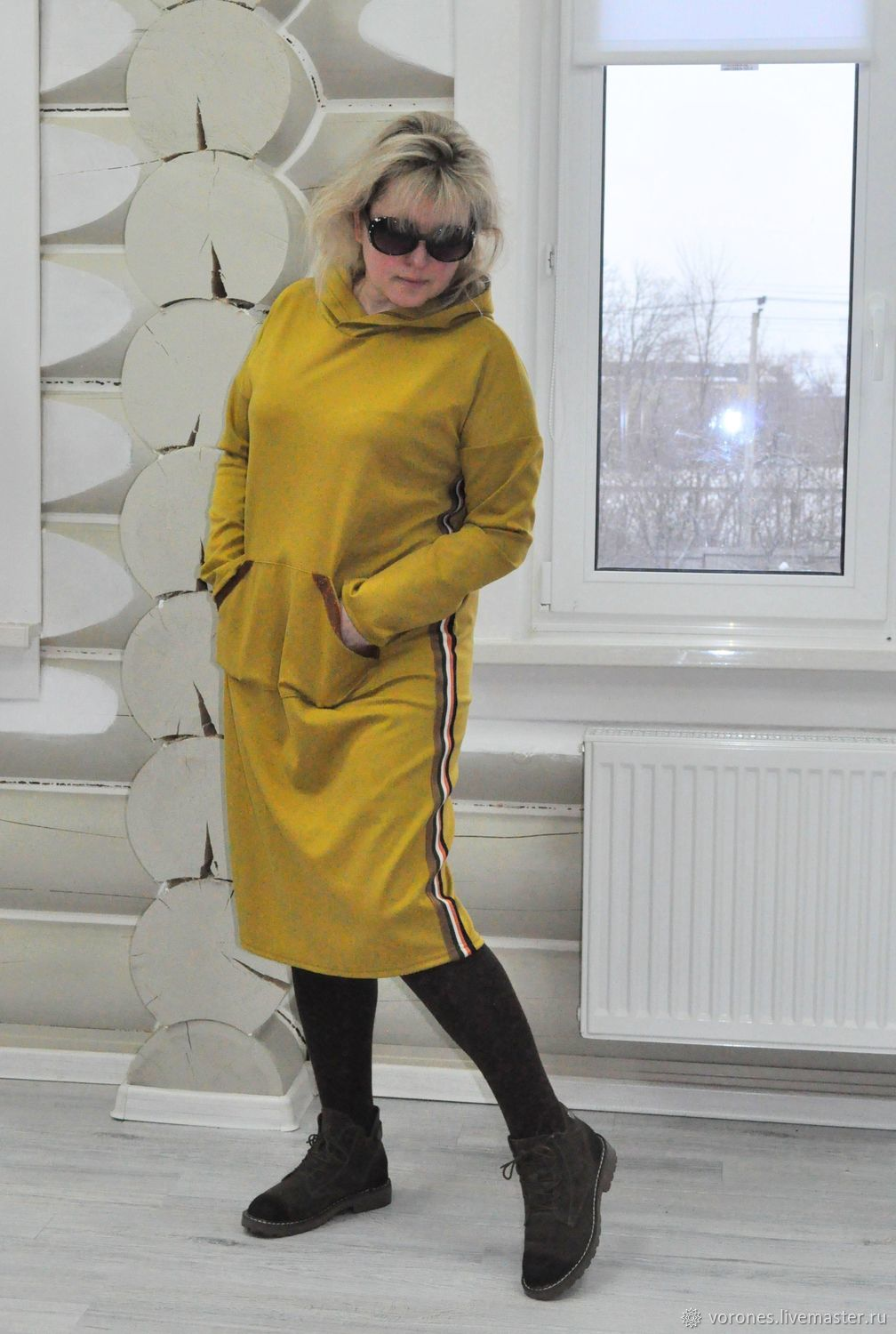 Jersey hoodie dress 'Spicy mustard', Dresses, Moscow,  Фото №1
