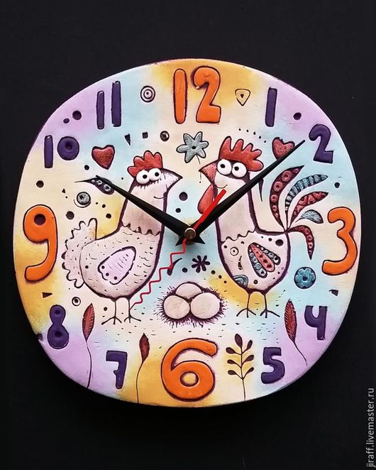 """Новый год 2017 ручной работы. Ярмарка Мастеров - ручная работа. Купить Часы """"Корзина яиц"""". Handmade. Голубой, часы в подарок"""
