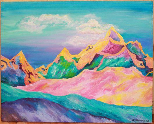 Пейзаж ручной работы. Ярмарка Мастеров - ручная работа. Купить Горы Авалона. Handmade. Комбинированный, горы на восходе солнца