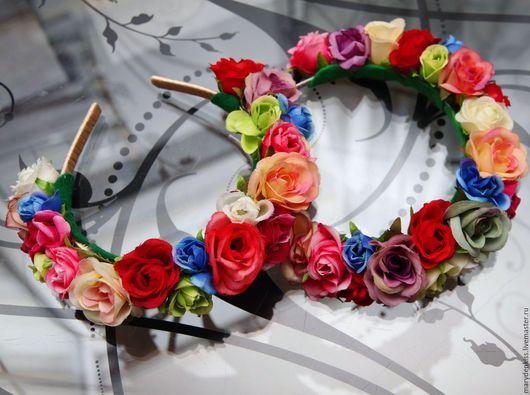 Диадемы, обручи ручной работы. Ярмарка Мастеров - ручная работа. Купить Ободки с цветами. Handmade. Комбинированный, ободок с цветами, цветы