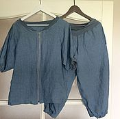 Одежда ручной работы. Ярмарка Мастеров - ручная работа Рубашка на молнии и укороченные штанишки Серо-голубой. Handmade.