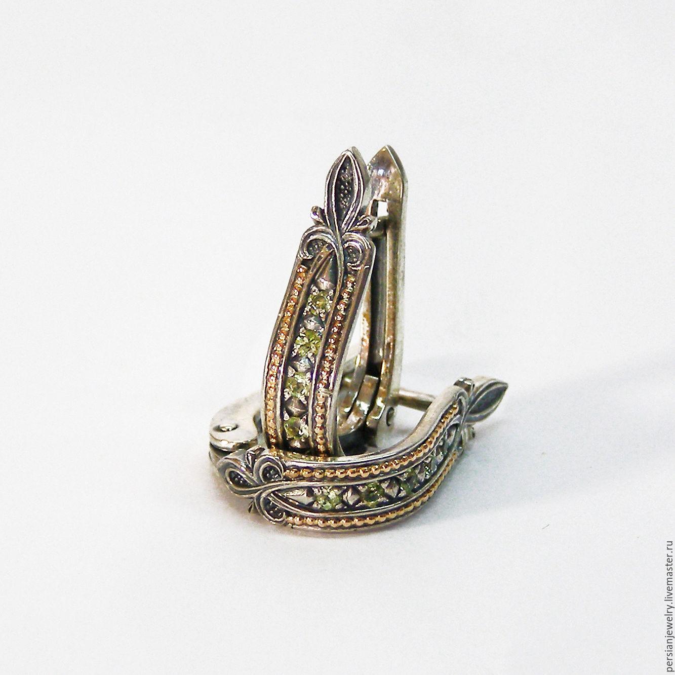 Silver earrings with chrysolite, Earrings, Sevastopol,  Фото №1