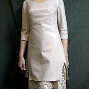 Одежда ручной работы. Ярмарка Мастеров - ручная работа Вечернее коктейльное кожаное платье пудровое. Handmade.