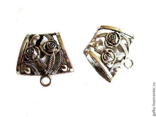 Для украшений ручной работы. Ярмарка Мастеров - ручная работа. Купить Бейл с розами для платка античное серебро. Handmade. Серебряный