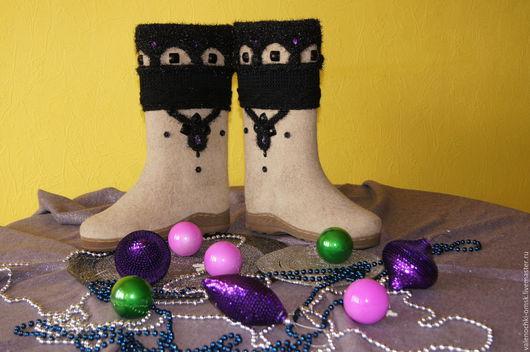 Обувь ручной работы. Ярмарка Мастеров - ручная работа. Купить Валенки - Окошечки. Handmade. Валенки ручной валки, валенки на подошве