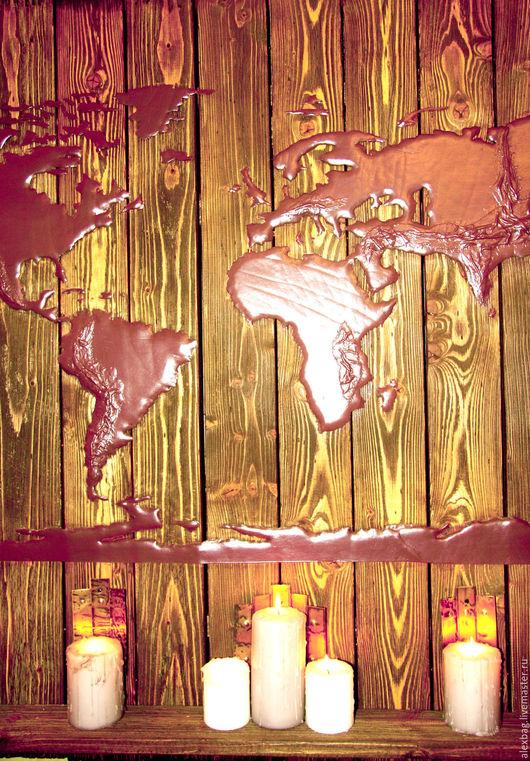 Дизайн интерьеров ручной работы. Ярмарка Мастеров - ручная работа. Купить Карта мира кожаная на дереве. Handmade. Карта мира