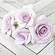 Заколки ручной работы. Набор шпилек с розами - Сиреневые (4 шт). Tanya Flower. Интернет-магазин Ярмарка Мастеров.