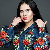 """Одежда ручной работы. Ярмарка Мастеров - ручная работа Джинсовая блуза вышиванка """"Джинсовый этюд"""" ручная вышивка. Handmade."""