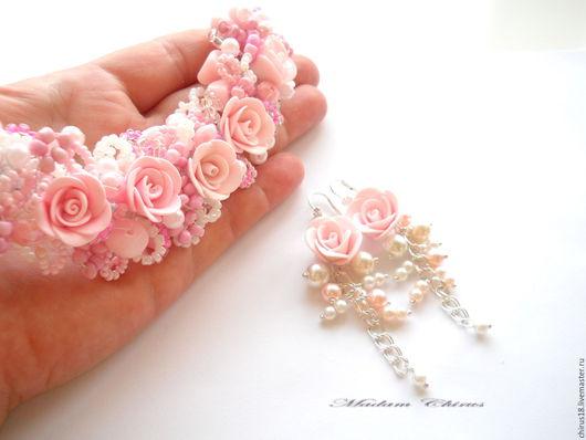 Комплекты украшений ручной работы. Ярмарка Мастеров - ручная работа. Купить Браслет и серьги  Розовая фея. Handmade. Бледно-розовый