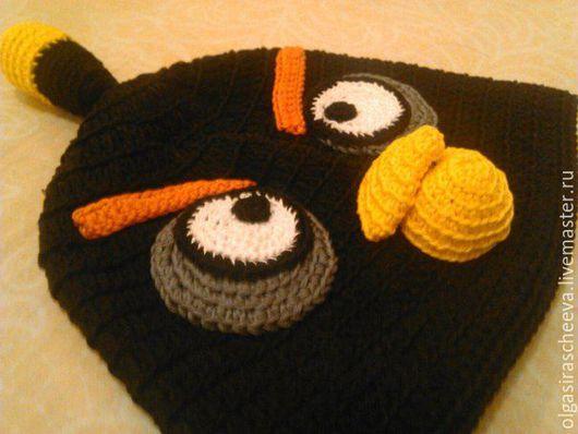 """Шапки и шарфы ручной работы. Ярмарка Мастеров - ручная работа. Купить Шапка вязаная детская """"Angry Birds"""". Handmade. Черный"""